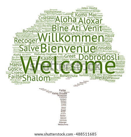 Conceptual tag cloud shape green tree stock vector for Green in different languages