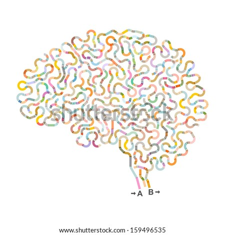 Vector concept - brain (ribbons) - stock vector