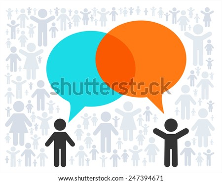 Vector concept - brainstorm. People pictogram and empty text bclouds - stock vector