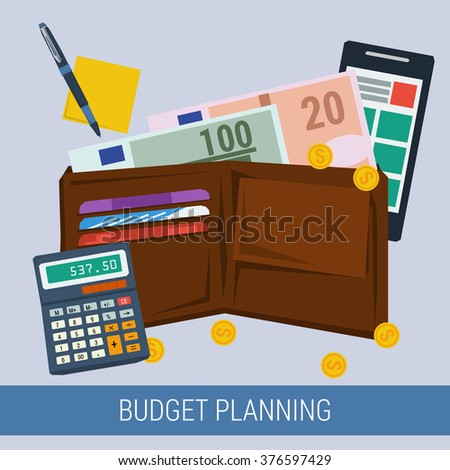 Vector concept budget planning for pay taxes. Purse with money coins calculator, paper, smartphone. Flat style. Web infographics - stock vector