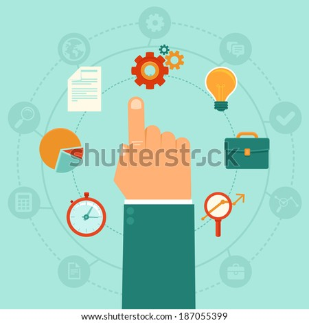 Vector concept - business administration  management - icons and infographic design elements in flat trendy style - stock vector