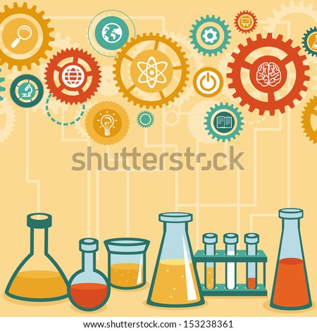Vector concept - chemistry and science research - design elements for infographic in flat style - stock vector