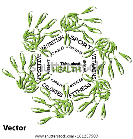Vector concept circle health word cloud of green leaf child hand prints on white background metaphor to health, nutrition, diet, wellness, body, energy, fitness, gym, medicine, sport, heart, science - stock vector