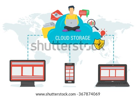 Vector concept cloud storage and safe data in internet. Various data in cloud storage with easy access to any device in the world. Flat style. Web infographics - stock vector