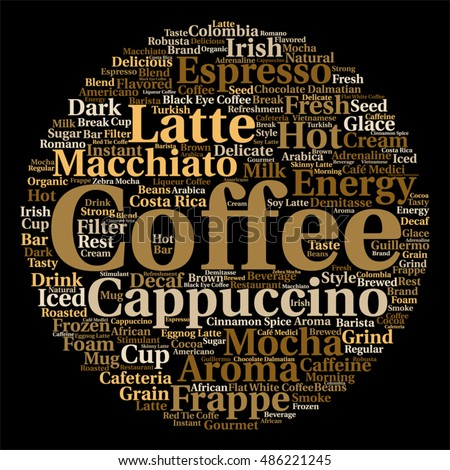 Vector concept conceptual creative hot coffee, cappuccino espresso abstract round word cloud isolated on background metaphor to morning, restaurant, italian, beverage, cafeteria, break, energy taste