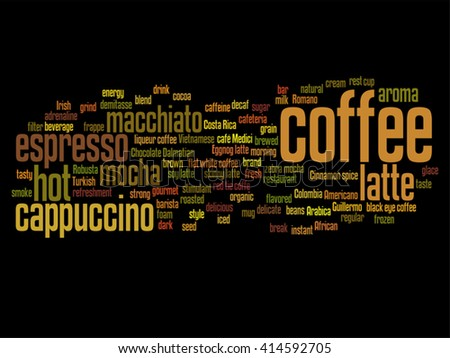 Vector concept conceptual creative hot coffee, cappuccino or espresso abstract word cloud isolated on background, metaphor to morning, restaurant, italian, beverage, cafeteria, break, energy or taste - stock vector
