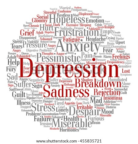 Vector concept conceptual depression or mental emotional disorder abstract round word cloud isolated on background for anxiety, sadness, negative, sad, problem, despair, unhappy, frustration symptom - stock vector