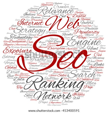 Vector concept conceptual search engine optimization, seo abstract round word cloud isolated on background metaphor to marketing, web, internet, strategy, online, rank, result,  network, top relevance - stock vector
