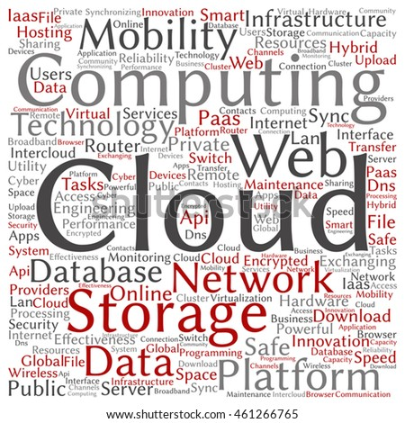 Vector concept conceptual web cloud computing technology abstract square wordcloud isolated on background for communication, business, storage, service, internet, virtual, online, mobility hosting