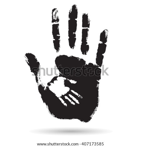 Vector concept cute black paint hand of mother child handprint isolated on white background for art care, childhood, family, fun, happy, infant, symbol, kid, little, love, mom, motherhood young design - stock vector