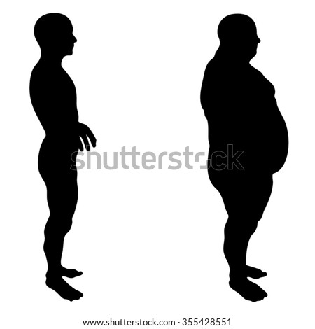 Vector concept 3D fat overweight vs slim fit diet with muscles young man silhouette isolated on white background for weight loss, body, fitness, fatness, obesity, health, healthy, male, dieting shape - stock vector