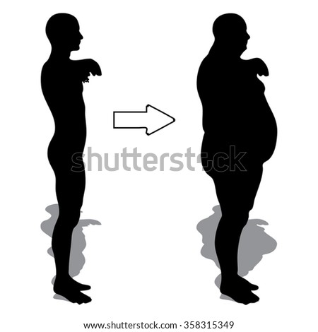 Vector concept 3D fat overweight vs slim fit diet with muscles young man silhouette isolated on background metaphor weight loss, body, fitness, fatness, obesity, health, healthy, male, dieting, shape - stock vector