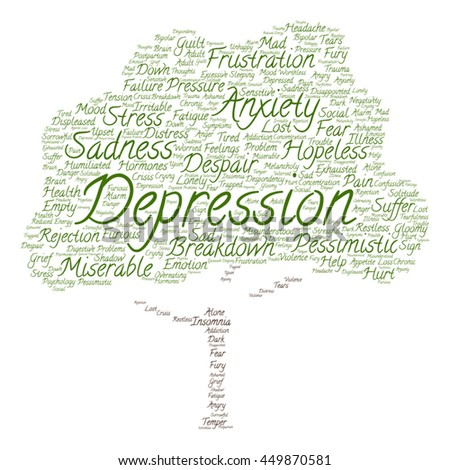 Vector concept depression mental emotional disorder abstract tree word cloud isolated on background metaphor to anxiety, sadness, negative, sad, problem, despair, unhappy, frustration symptom - stock vector