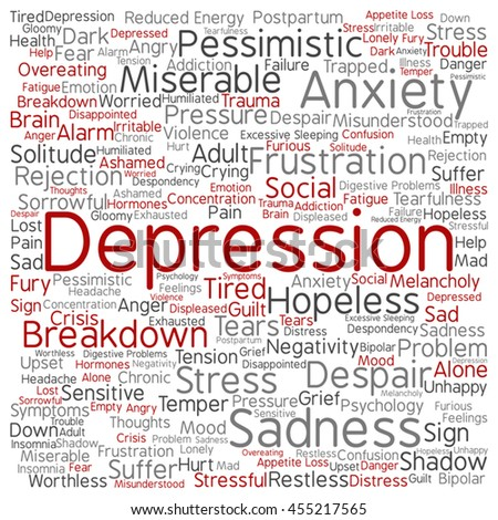 Vector concept depression or mental emotional disorder abstract square word cloud isolated on background metaphor to anxiety, sadness, negative, sad, problem, despair, unhappy, frustration symptom - stock vector