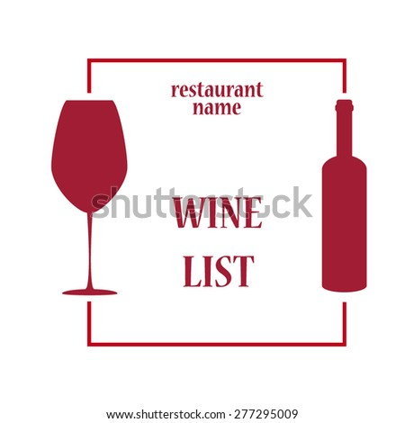 vector concept design wine list with text on bottle in contrast colors - stock vector