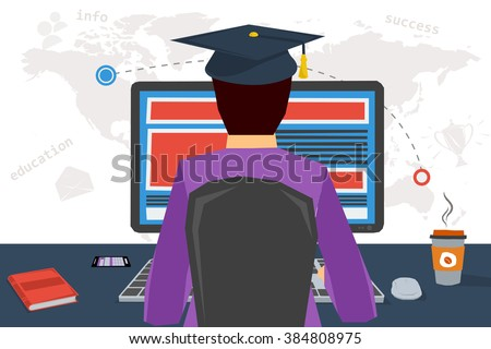 Vector concept distance online education, online webinar, e-learning  in internet. Man receiving education through Internet using computer and keyboard. Distance learning. Flat style. Web infographics - stock vector