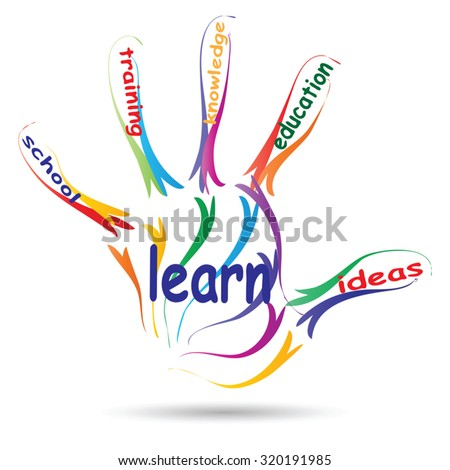Vector concept education hand print colorful word cloud isolated on white background for child, family, school, life, learn, knowledge, home, study, teach, educational, achievement, childhood, teen - stock vector