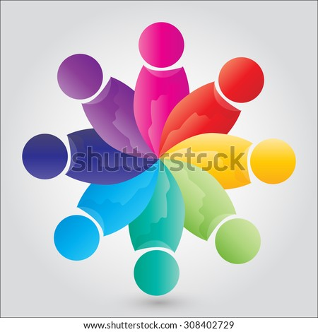 vector concept engagement, togetherness. this also represents social media community, unity, friendship, play group & employees - stock vector