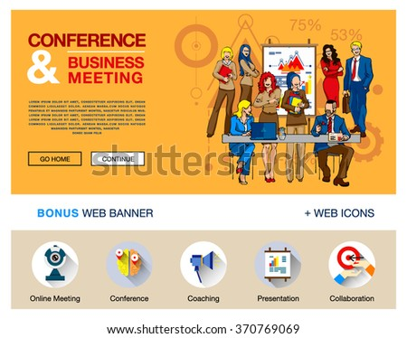 Vector concept for website, infographics. Flat bright design of web banner template with outline bonus icons of coworking, business people training, corporate conference, sales meeting presentation. - stock vector