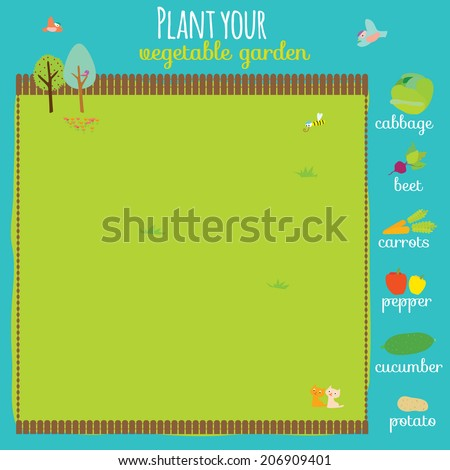 Vector concept game where you have to plant your garden. Carrots, cabbage, peppers, beets, cucumber, potatoes. Cute illustration can be used like game in school for kids. - stock vector