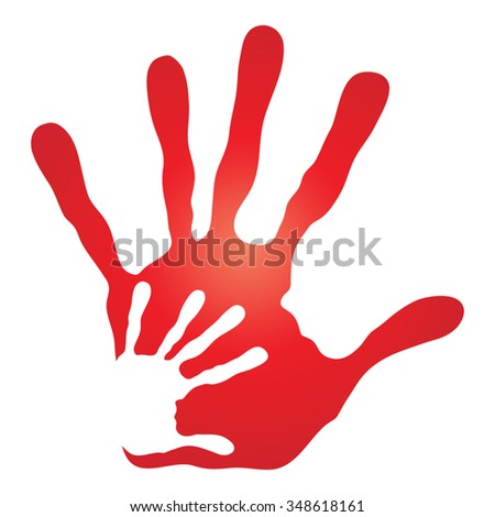 Vector concept human or mother and child hand prints painted, isolated on white background for art, care, childhood, family, fun, happy, infant, symbol, kid, little, love, mom, motherhood young design
