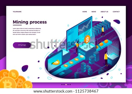 Vector Concept Illustration Cryptocurrency Mining Process Stock