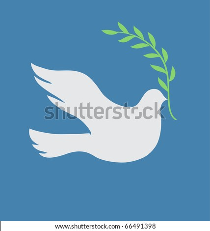 Vector Concept illustration of Beautiful white dove in flight holding an Olive Branch - stock vector