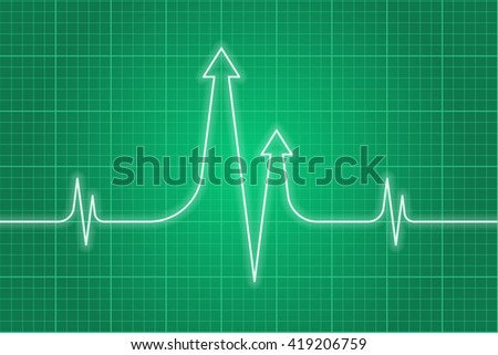 Vector concept illustration of science research process. Light glossy heart pulse line with arrows on dark green monitor background. Infographic design element for web, print, presentation, booklet. - stock vector