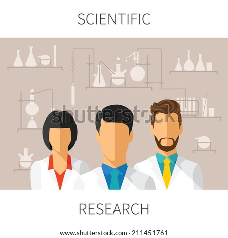Vector concept illustration of scientific research with scientists in chemical laboratory - stock vector