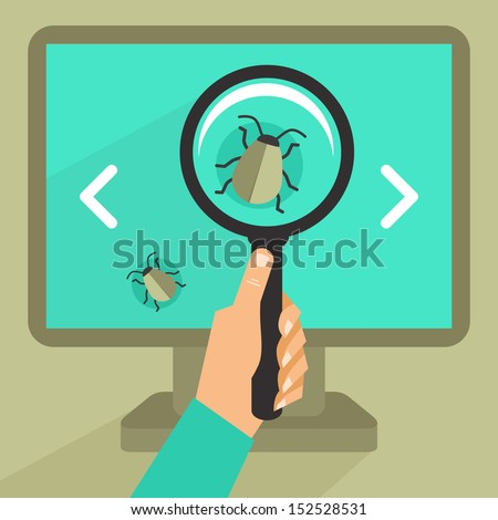 Vector concept in flat retro style - bug and virus in the programming code - stock vector