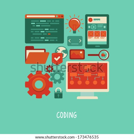 Vector concept in flat style with trendy icons - website development and coding. Tools and symbols - programming and prototyping - stock vector