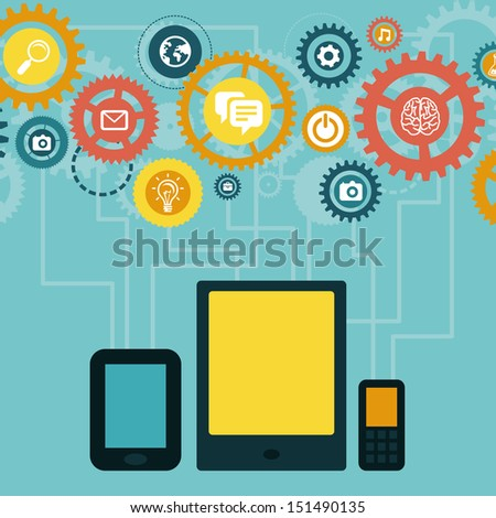 Vector concept - mobile app development infographics in flat style with social media and technology icons - stock vector