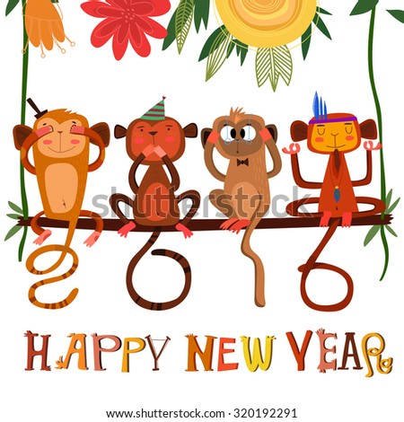 Vector 2016 concept New Year background of Three wise monkeys +1, a symbol of New Year 2016.  2016 made tails of monkeys - stock vector - stock vector