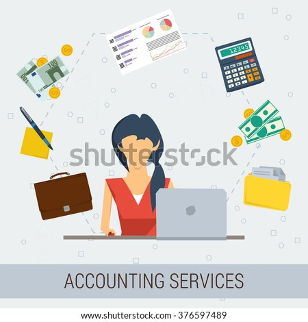 Vector concept of accounting services. Female accountant at working place, money, calculator, documentation, graphics. Flat style. Isolated web infographic - stock vector