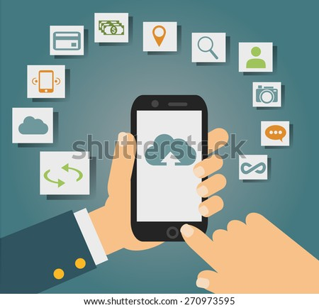 Vector concept of cloud services on mobile phone such as storage, computing, search, photo album, data exchange. With colorful icons or web buttons around mobile device.