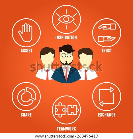 Vector concept of collaboration with components - vector illustration - stock vector
