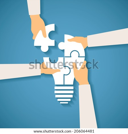 Vector concept of creative teamwork with light bulb puzzle and human hands - stock vector