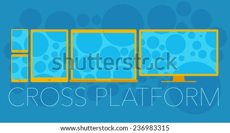Vector concept of cross platform with mobile phone, tablet pc, laptop and pc  - stock vector