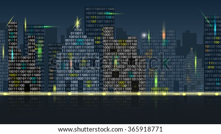 Vector Concept of Digital Cityscape, Eps10 Vector, Transparency Used - stock vector