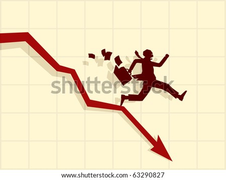 Vector concept of financial crisis, businessman on red arrow