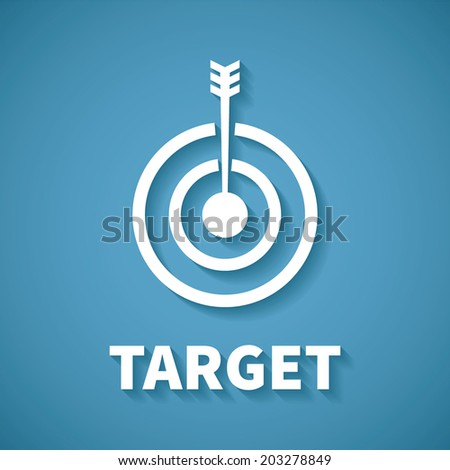 Vector concept of goal or target achievement with dart arrow - stock vector