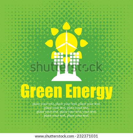vector concept of green energy with solar panels and wind turbines - stock vector