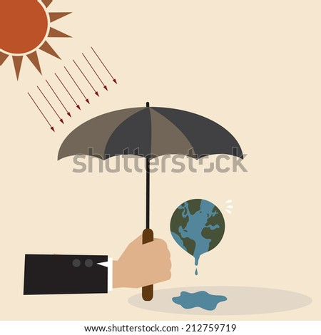 Vector concept of Hand with umbrella protect the Earth from sunray - stock vector