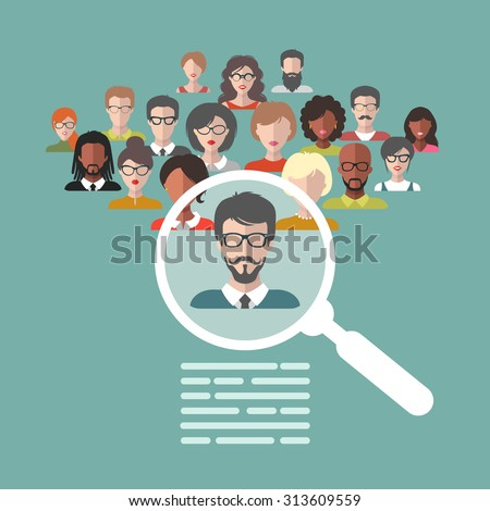 Vector concept of human resources management, professional staff research, head hunter job with magnifying glass - stock vector