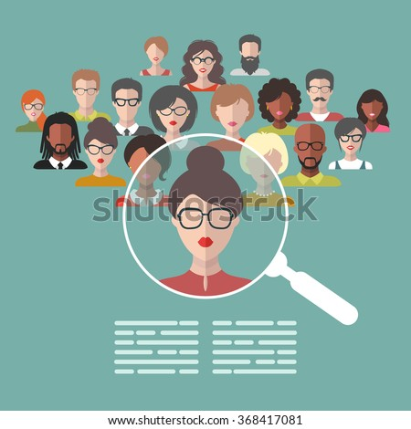 Vector concept of human resources management, professional staff research, head hunter job with magnifying glass. Human resources illustration in flat style - stock vector