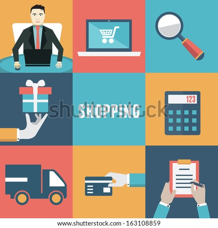 Vector concept of internet shopping. Order and delivery. Flat style design - vector illustration - stock vector
