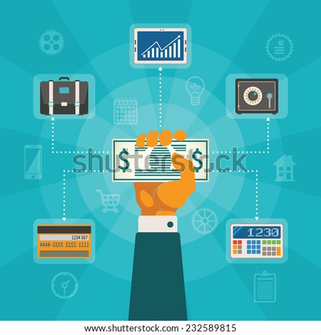 Vector concept of online banking and private finance control - stock vector