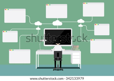 Vector concept of wireless cloud network and distributed computing. Empty boxes can be filled with words or signs and symbols. - stock vector