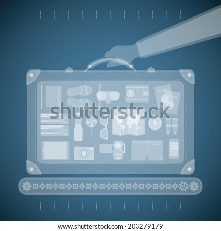 Vector concept of xray airport scanner for tourism and business travel industry - stock vector