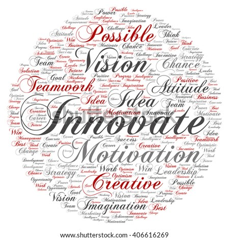 Vector concept or conceptual abstract creative business word cloud on white background, metaphor to teamwork, innovation, possible, creativity, leadership, management, successful, corporate, strategy